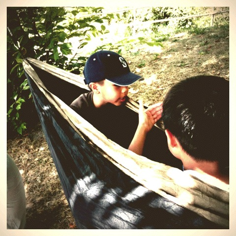 Aidan and Marcos in my Eagles Nest Outfitter double nest hammock